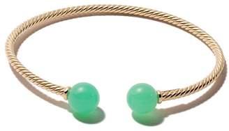 David Yurman 18kt yellow gold Solari chrysoprase bead cuff bracelet