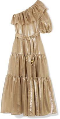 Lisa Marie Fernandez Arden One-shoulder Ruffled Metallic Cotton-blend Voile Maxi Dress - Gold