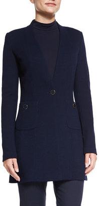 St. John Collection Milano Pique Knit V-Neck Jacket, Navy $1,295 thestylecure.com