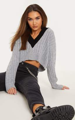 PrettyLittleThing Grey Cable V Neck Knitted Jumper