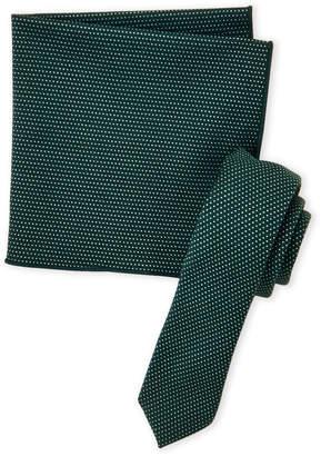 Original Penguin Hunter Green Ramsey Tie & Pocket Square Set