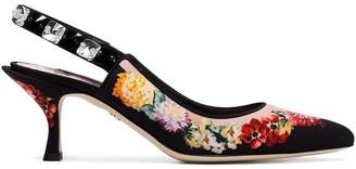Dolce & Gabbana black 60 floral print slingback leather pumps