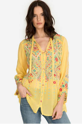 Johnny Was Citron Embroidered Top