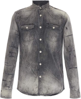 Balmain Western Distressed Denim Shirt