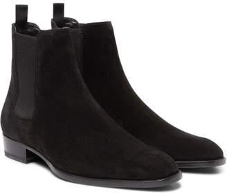 Saint Laurent Suede Chelsea Boots - Black