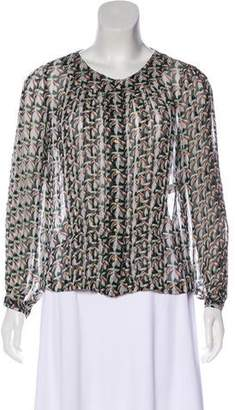 Diane von Furstenberg Long Sleeve Button-Up Blouse