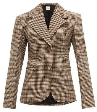 KHAITE Oversized Checked Wool Blend Blazer - Womens - Brown Multi