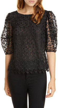 Joie Marybeth Lace Brocade Puff Sleeve Blouse