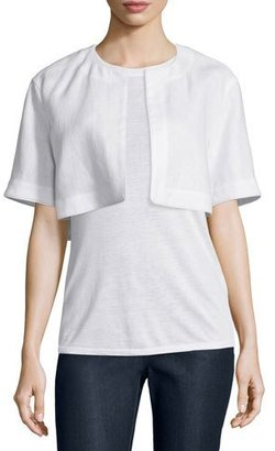 Lafayette 148 New York Bella Short-Sleeve Cropped Jacket, White $395 thestylecure.com