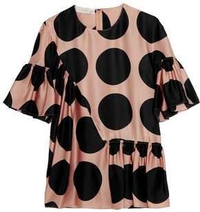Stella McCartney Ruched Polka-Dot Silk Top