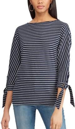Chaps Petite Striped Tie-Sleeve Dolman Top