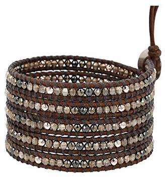 Chan Luu Silver-Plated Beaded Wrap Bracelet on Natural Grey Leather