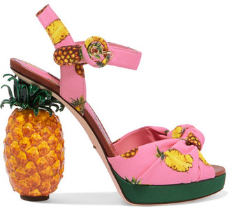 Dolce & Gabbana - Knotted Printed Crepe Platform Sandals - Pink $1,995 thestylecure.com