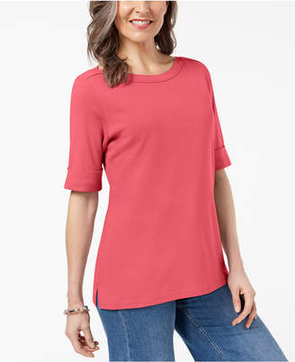 Karen Scott Cuffed Boat-Neck Top