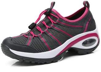 Enllerviid a17803huimeihong38 Women Slip On Platform Running/Jogging/Fitness/Walking Shoes with Thick Bottom Dark Grey