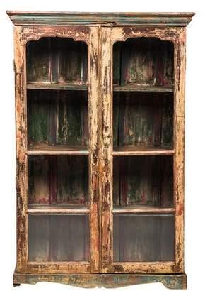Antiqued Glass Door Display Cabinet