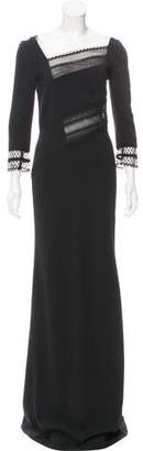 Roland Mouret Lace-Paneled Evening Dress