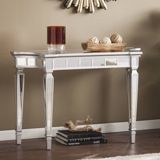 Southern Enterprises Grevale Glam Mirrored Console Table, Matte Silver