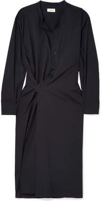 Lemaire Asymmetric Cotton-poplin Midi Dress - Midnight blue