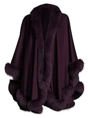 Sofia Cashmere Women's Fox Fur-Trimmed Cashmere Wrap
