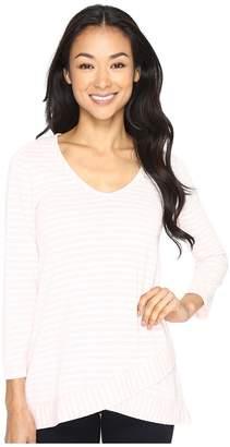 Mod-o-doc Heather Yarn Dye Stripe 3/4 Sleeve Crossover Hem Tee Women's T Shirt