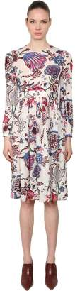 Tory Burch Floral Printed Silk Georgette Midi Dress