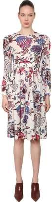 Tory Burch Floral Printed Silk Georgette Midi Dress