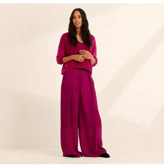 Amanda Wakeley Magenta Viscose Satin Wide Leg Trousers