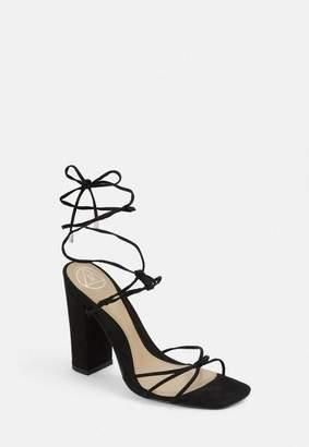 Missguided Block Heel Strap Tie Heeled Sandals