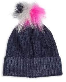Bari Lynn Kid's Metallic Fox Fur Winter Hat