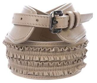 Burberry Ruffle Leather Waist Belt