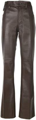 Prada flared leather trousers