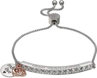 "Brilliance+ Brilliance Silver Plated Swarovski Crystal Bar ""Great Grandmother"" Charm Bracelet"