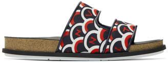 Valentino Navy and Red Garavani VLTN Staircase Sandals