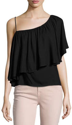 Ella Moss Stella One-Shoulder Ruffled Top, Black $138 thestylecure.com