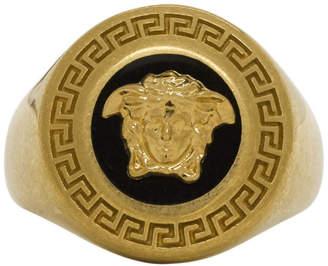 Versace Black and Gold Medusa Medallion Ring