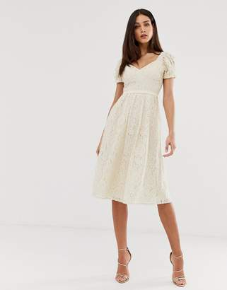 a3fab8684ef Little Mistress all over lace sweetheart neck midi skater dress in cream