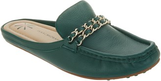 Isaac Mizrahi Live! Leather Mule Moccasin with Chain Hardware