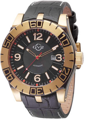 Gv2 Men's Automatic-Self-Wind La Luna Black Leather Strap Watch