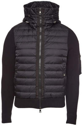 Moncler Quilted Jacket with Wool Sleeves