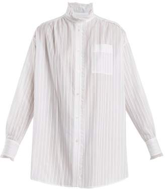 Sonia Rykiel Lace-trimmed striped-cotton shirt
