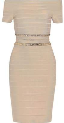 Herve Leger Marina Off-the-shoulder Crystal-embellished Bandage Dress