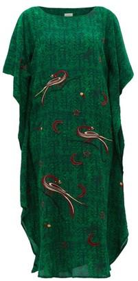 Chufy - Kaf Peacock And Celestial Embroidered Kaftan Dress - Womens - Green Print