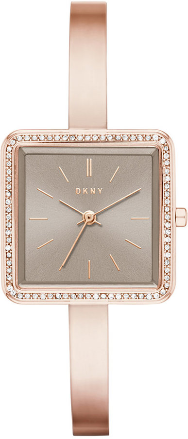 DKNYDKNY Women's Stonewall Rose Gold-Tone Stainless Steel Half-Bangle Bracelet Watch 24mm NY2559