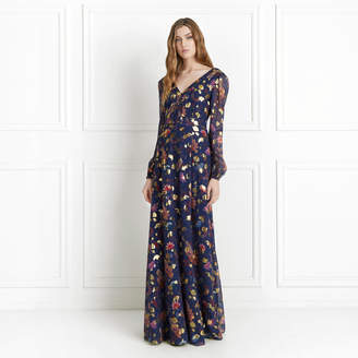 Rachel Zoe Annabel Metallic Floral Fil Coupe Maxi Dress
