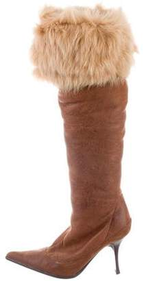 Vince Leather Fur-Trimmed Knee-High Boots