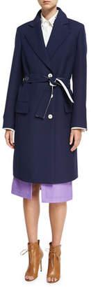 Derek Lam Crombie Tailored Single-Breasted Belted Coat, Navy