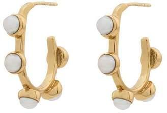 Cornelia Webb gold metallic freshwater pearl hoop earrings