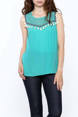 Thml Clothing Aqua Tassel Top