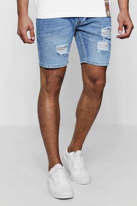 boohoo Slim Fit Rose Embroidered Denim Shorts